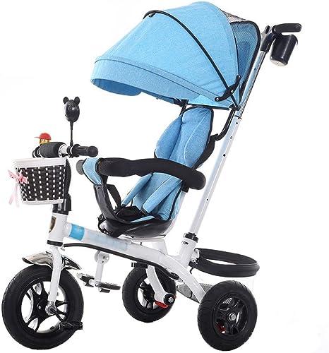 hasta 42% de descuento Cochecito de de de bebé Exclusivo para Niños de 1-6 años Bicicleta de Triciclo para Niños   Reposabrazos Ajustable   Embrague   Arnés de Seguridad   Frenos   Portavasos (azul)  calidad oficial