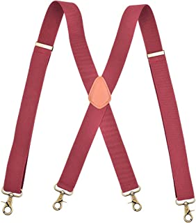 AYOSUSH Snap Hook Suspenders for Men Big and Tall Burgundy Red X Back Adjustable
