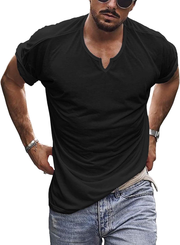 Men's V Neck Casual Short Sleeve T-Shirts Soft Stretch Solid Color Notch Neck Tee Shirt Summer Lightweight Tops