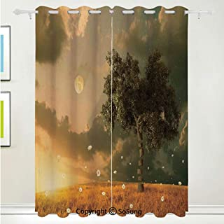 Fantasy Decor Grommet Blackout Window,The Unreal View Land with Flying Flowers Tree Moon Dark Clouds and Setting Sun Decorative,for Bedroom&Living Room&Patio Sliding Doors,2 Panels Set,108 X 96 Inches