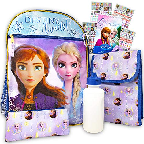 Disney Frozen Backpack Set for Girls ~ 6 Pc Deluxe 16' Frozen Backpack with Lunch Bag, Water Bottle, Stickers and More (Frozen School Supplies)