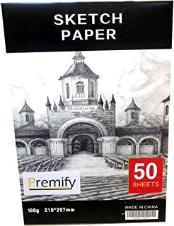 50/Sheets A4 Sketch Pad White Thick Papers 160gsm/90lb Artist Drawing Paper Acid Free, Ideal Sketchbook for Kids & Adults ...