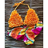 hanimj (One Size) Brasileño Mujer Remolque Piezas de Bikini 2020 Sexy Traje de baño de Las Mujeres Traje de baño Halter Trajes de baño Ropa de Playa Nadar Imprimir