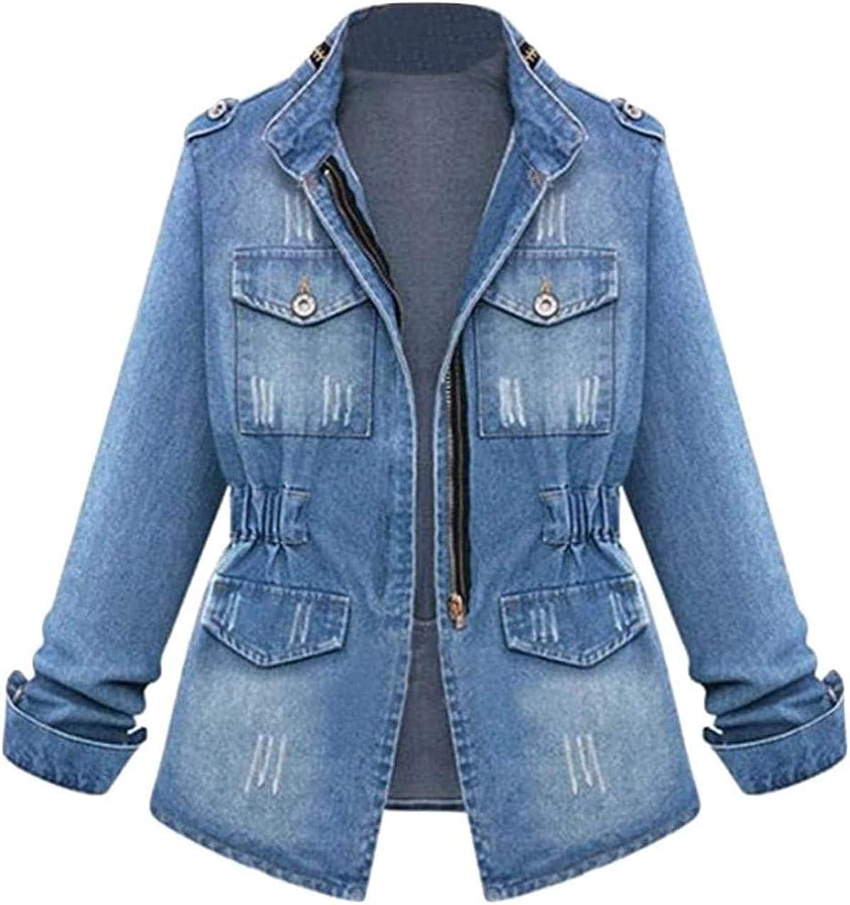 Jean Jacket for Women denim Distressed Corset Jean Coat Basic Long Sleeves Zipper Fitted Casual Denim Jackets-