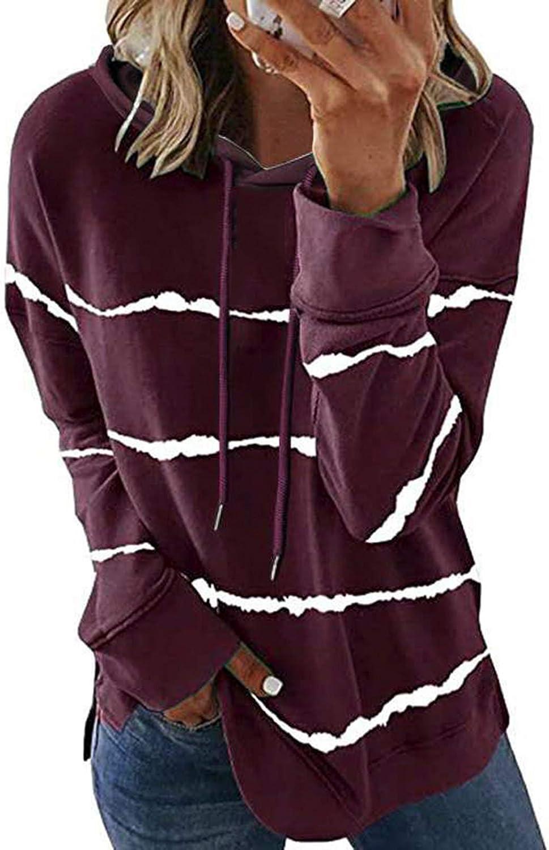Women Casual Long Sleeve Star Print Side Split Pullover Sweatshirt