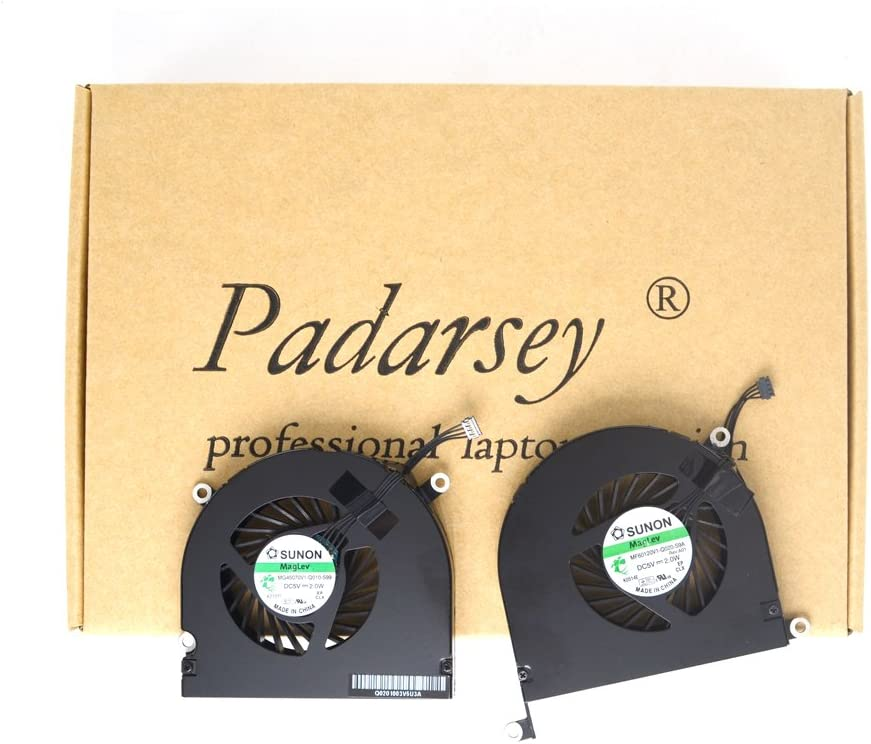 Padarsey New Laptop CPU Cooling Fan Left and Right Set Compatible for MacBook Pro A1297 17-Inch Unibody 2009 2010 2011 DC 5V 2W Compatible with Part MG45070V1-Q010-S99 MG45070V1-Q021-S9A