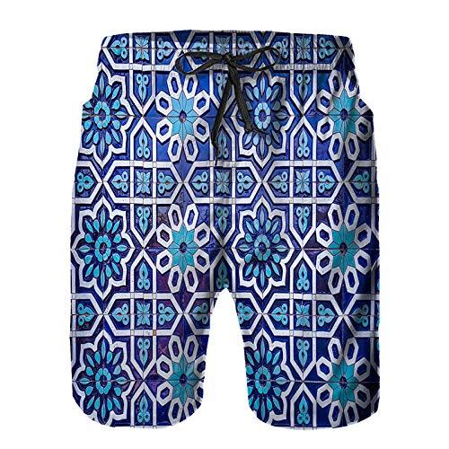 Hombres Verano Secado rápido Pantalones Cortos Playa Patrón Tradicional uzbeko en baldosas de cerámica Trajes de baño Correr Surf Deportes-3XL