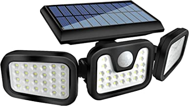 HOORAY Solar Lights Outdoor - 800Lumens 74 LED Wireless Motion Sensor Light,3 Adjustable Heads,270°Wide Angle Illuminatio...