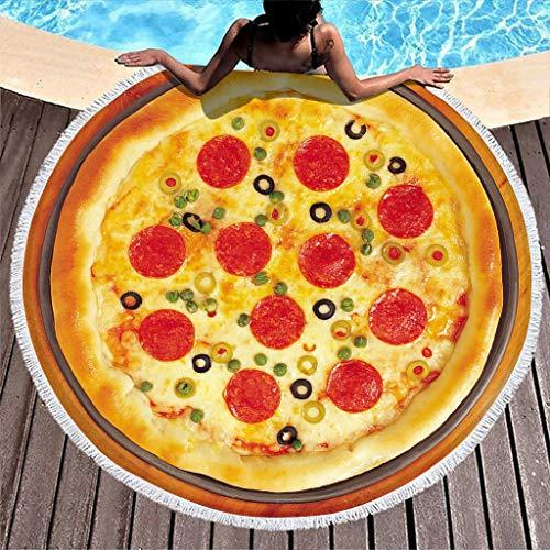 Tentenentent Toalla de playa deliciosa para pizza, manta redonda para playa – Alimentos 3D, super absorbente de agua, esterilla exterior para Yoga White2 150 cm