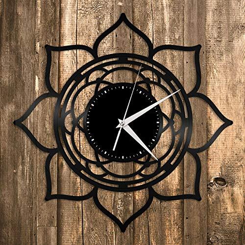 Reloj de pared de vinilo con diseño de loto de Seed of Life, regalo único para decoración de habitación de amigos, diseño vintage, oficina, bar, sala de decoración del hogar