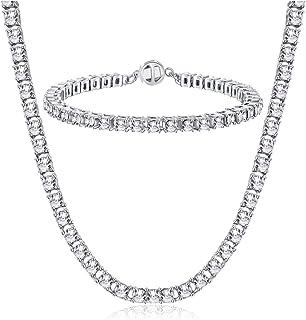 Pulsera Tenis Cristal Collar Gargantilla Corta Plata Set de Joyas Mujer Regalos