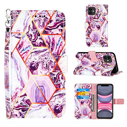 Compatible for iPhone 11 Wallet Case,[Stand Feature][Wrist Strap][Credit Cards Holder] 2021 New Marble Pattern Premium PU Leather Flip Protective Cover for iPhone 11 Phone Cases (Purple)