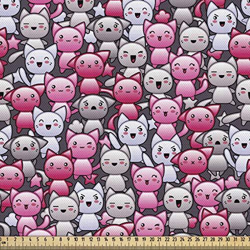 ABAKUHAUS Gato Tela por Metro, Doodle Humor Lindo De Kawaii, Decorativa para Tapicería y Textiles del Hogar, 1M (148x100cm), Tan Rosa Lila