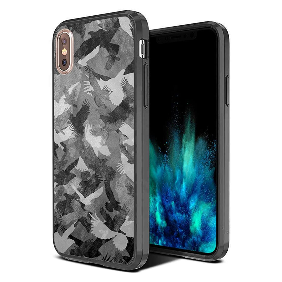Moriko Case Compatible with iPhone Xs Max [Hybrid Slim Hard Back Shield with Fused TPU Edge Bumper Case Black] for iPhone Xs Max - (Grey Bird Camo)