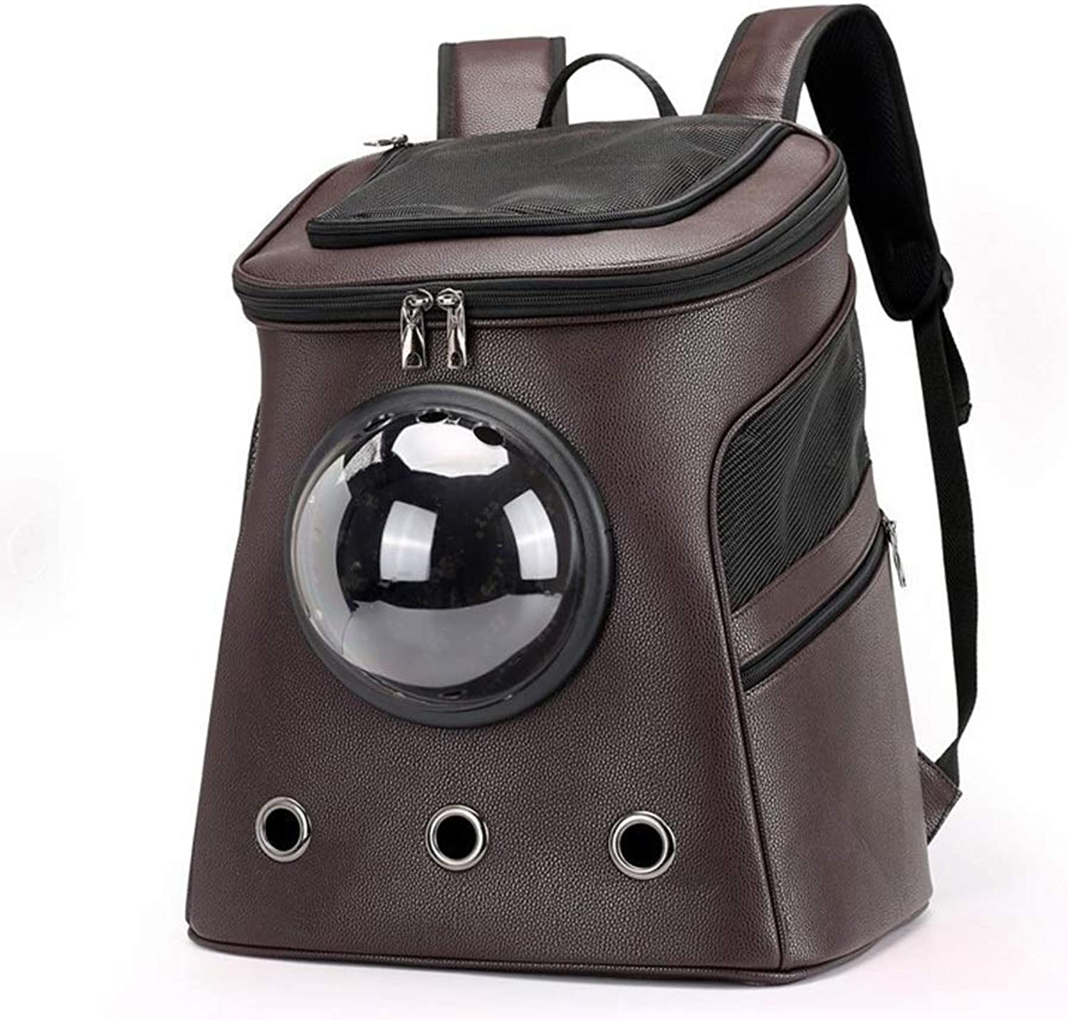 FELICIOO Pet Out Backpack Large Capacity Takeaway Portable Dog Travel Bag Capsule Cat Pet Backpack (color   Brown, Size   39  47  30CM)
