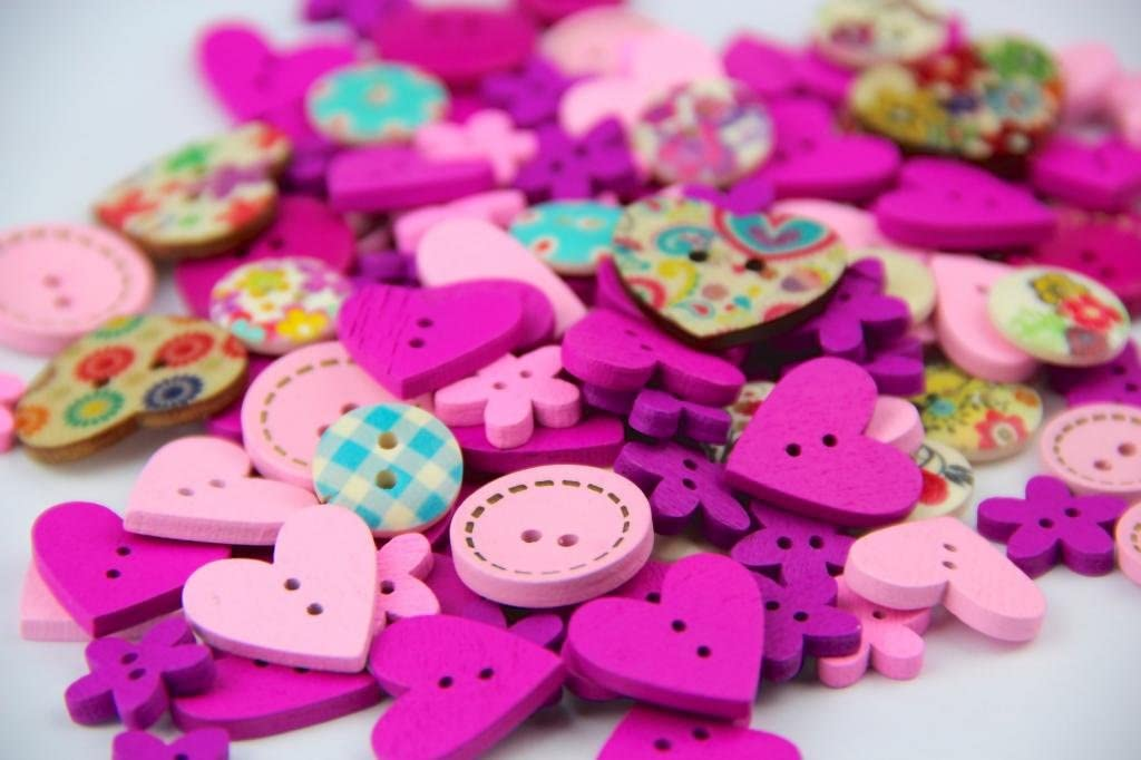 RayLineDo Pack of Over 95pcs PinkPurple Various Shapes 2 Holes