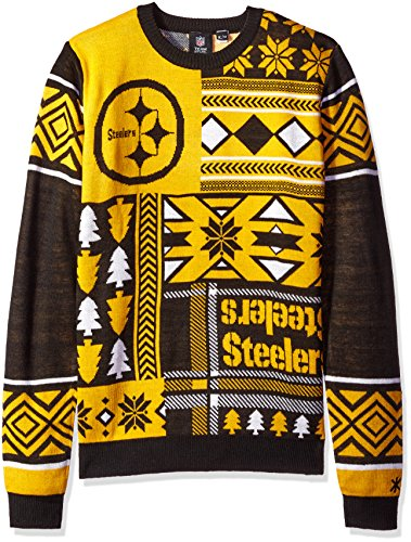 NFL PITTSBURGH STEELERS PATCHES Ugly Sweater, Small>
