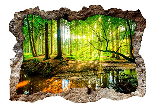 murando - 3D WANDILLUSION 210x150 cm Wandbild - Fototapete - Poster XXL - Loch 3D - Vlies Leinwand - Panorama Bilder - Dekoration - Wald Natur c-B-0175-t-a