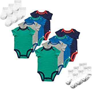 Fruit of the Loom Grow with Me Baby 20-Piece Gift Set - Short-Sleeve Bodysuits & Crew-Length Sock - Multi-Pack Sizes