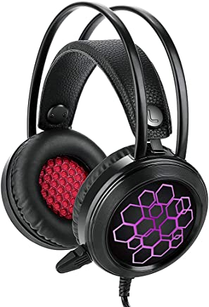 Hanbaili Stereo Gaming LED Lighting Cuffia Over-Ear Cuffia con Microfono per PC Gioco per Computer con cancellazione del Rumore e Controllo del Volume USB Gaming Headset - Trova i prezzi più bassi