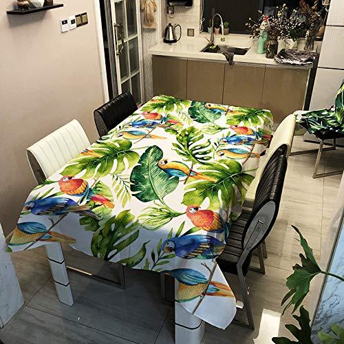 ZHENQI Polyester Bedruckte Tischdecke, Antifouling wasserdicht, rechteckige Home-Restaurant-Tischdecke, Kaffeetischdecke, Grünpflanze Serie ZB2121-3 90x90cm