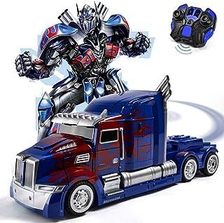 Zhangl RC Juguete Transformers Autobots Optimus Prime con Arma Coche teledirigido Deformación Robot 360 ° Velocidad de Deriva ABS Stunt Car niños Muchachas de los Cabritos cumpleaños