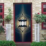 Puerta Pegatinas Mural Lámpara de Mano de Estilo Árabe Papel Pintado Arte Decoración del hogar 95x215cm