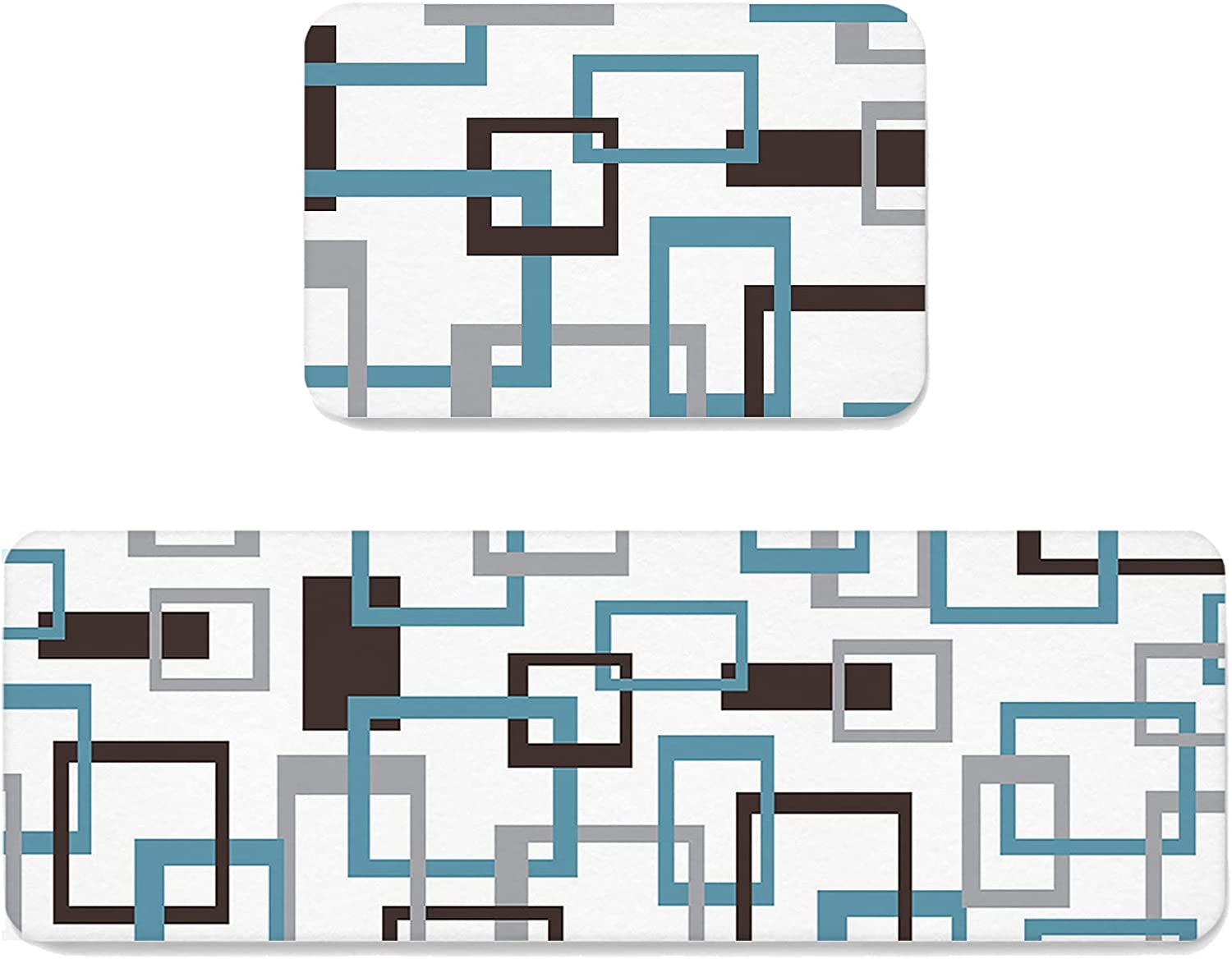 Blue Gray Brown Geometric Contemporary Pattern Century Mid Kitch Discount mail order Store