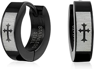 Laser Etched Fleur De Lis Cross Black Huggie Hoop Kpop Earrings For Men Or Women Black Ip Plated Stainless Steel