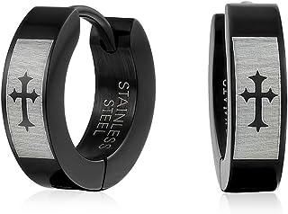 Biker Jewelry Small Religious Mid Evil Laser Etched Fleur De Lis Cross Black Huggie Hoop Kpop Earrings For Men Or Women Te...
