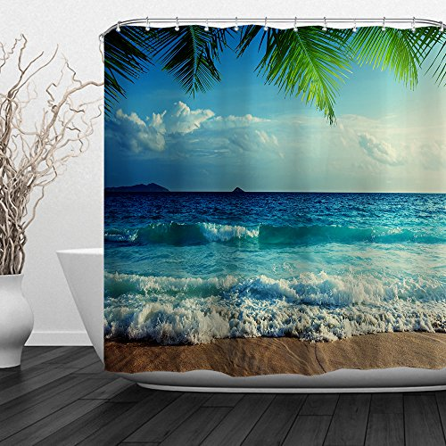 "Baccessor Home Bathroom Decorative Polyester Fabric Ocean Beach Theme Shower Curtain with Hooks, Waterproof Fabric, Weighted Bottom, 60"" W x 72"" H (150CM x 180CM) - Blue Wave Beach"