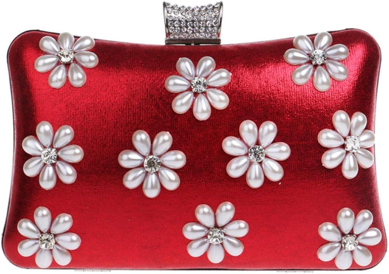 GAN Frauen Handtaschen Satchel Mit Blaume Crossbodybag Elegante Abendtaschen Für Hochzeit Damen Party Floral Clutch Geldbörse,rot-20  5  12cm B07H2G1B8B  Obermaterial