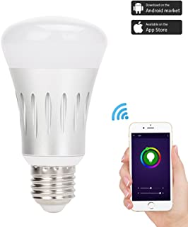 Smart Bulb WiFi Led Light, RGB Color Changing, Dimmable, No Hub Required, Remote Control, Compatible with Alexa & Google Assistant, 7W Wi-Fi Smart Bulb, 40W Equivalent E27