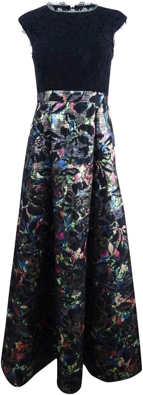 Aidan Mattox Aidan Womens Metallic Floral Print Evening Dress