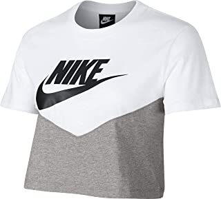 Nike Women's NSW HRTG Top SS, Blue(Dk Grey Heather/White/Black063), X-Large