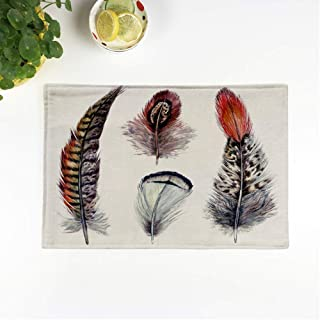rouihot Set of 6 Placemats Collection of Watercolor Pheasant Feathers Wild Nature Bird Plumage Boho Elements 12.5x17 Inch Non-Slip Washable Place Mats for Dinner Parties Decor Kitchen Table
