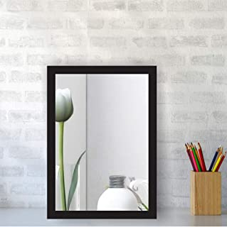 Creative Arts n Frames Brown Color Synthetic Fiber Wood Made Framed Mirror    Size - 10inch x 12inch    Shaving Beauty Makeup Hand Held Vanity Mirror    (Black)