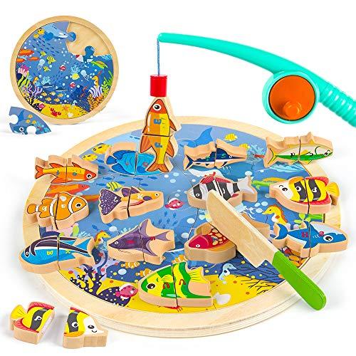 VATOS - Juego de Pesca magnético 3 en 1, 26 Piezas, Juguetes de Madera, Letras del Alfabeto, Juguetes de Pesca, Aprendizaje, Juguetes educativos con Postes magnéticos para niños de 2 3 4 5 6 años