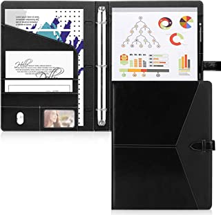 Toplive Padfolio 3 Ring Binder (1'' Round Ring) Business Portfolio Folder for Interview, Conference and Presentation, Black