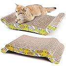 2 Pack Cat Scratcher Cardboard, Reversible Corrugated Cat Scratching Pad Replacement Scratcher Pad Lounge Sofa Bed, Catnip Included