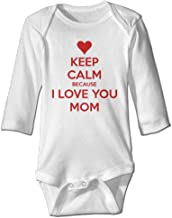 Keep Calm Because I Love You Mom Cute Bodysuit Rompers for Infant Unisex Baby Long Sleeve