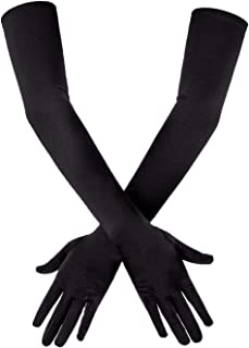 SAVITA Long Elbow Length Satin Gloves Stretchy 1920s Opera Gloves Evening Party Dance Gloves for Women 21 inches Black