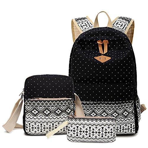 WSLCN Unisex Erwachsene Schultaschen-Set Segeltuch Rucksack Daypack Schultertaschen Freizeit Kinderrucksäcke 5 Stück
