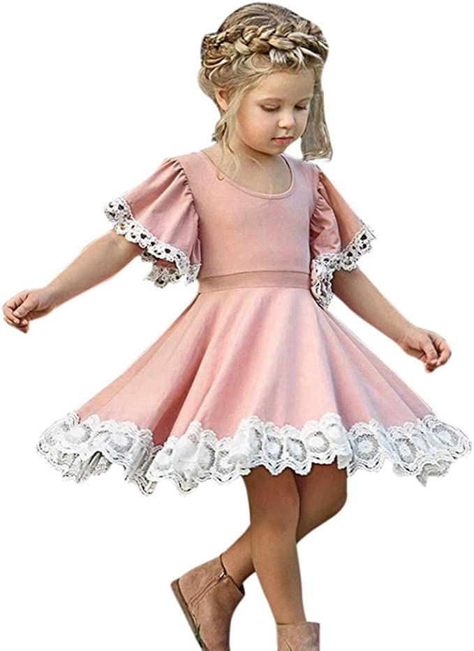 Jerfer Mode Kinder Baby Madchen Kleid Spitze Floral Party Kleid Kurzarm Festes Kleid Kleidung Amazon De Bekleidung