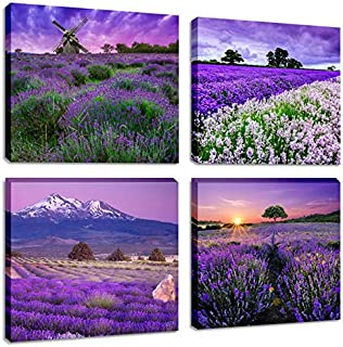 Purple Lavender Flower Wall Art Paintings Canvas Prints Modern Provence Fields Sunrise Landscape Artwork Pictures for Living Room Home Decoration