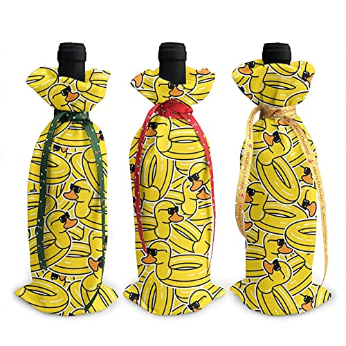 Christmas Wine Bottle Decoration Bag For New Year Wedding Wine Tasting Party Dinner Decor Holiday Ornaments 3pcs Wine Bottle Cover Bags,Xmas Gift Yellow Duck Flamingo