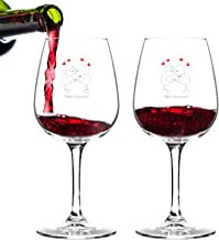 Happy Anniversary! Set of 2 Red or White Wine Glasses (12.75 oz.)- Romantic Gift Set - Made in USA – Cool Present Idea for Wedding Anniversary, Married Couples, Him or Her, Mr. or Mrs.