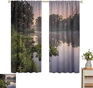 Forest, Customized Curtains, Lake in Natura Reserve Springendal Netherlands Foggy Morning in Woods Ecology, Blackout Window Curtain Green Purplegrey