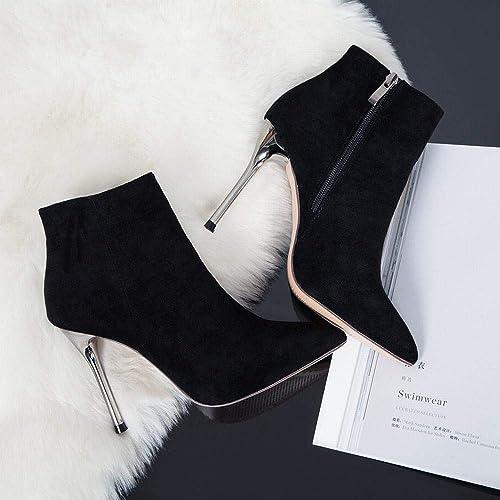 Lieyliso Stiefel de damen Stiefel de tacón Alto Stiefel Negras de Tobillo otoño Invierno (Farbe   schwarz, Größe   34)