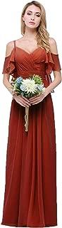 CLOTHKNOW Spaghetti Chiffon Bridesmaid Dresses Long with Shoulder Ruffles